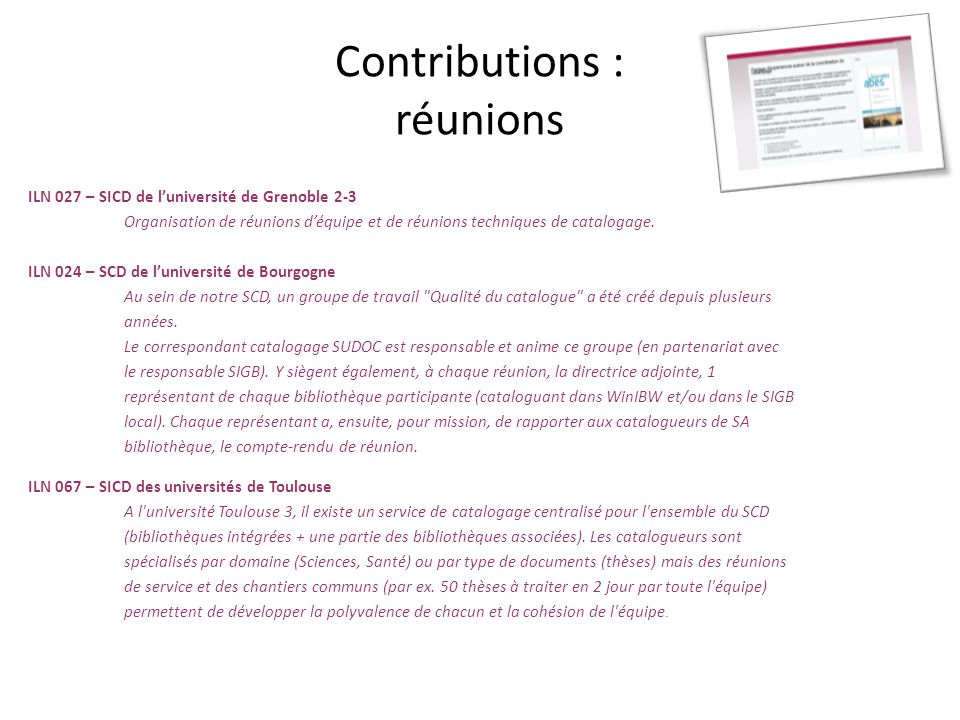 Contributions : relais