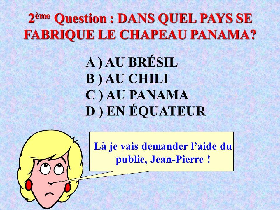 2ème Question : DANS QUEL PAYS SE FABRIQUE LE CHAPEAU PANAMA