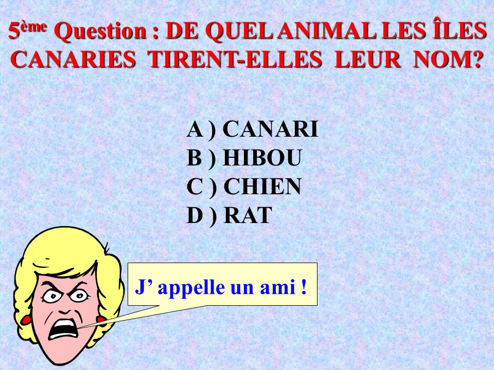 5ème Question : DE QUEL ANIMAL LES ÎLES CANARIES TIRENT-ELLES LEUR NOM