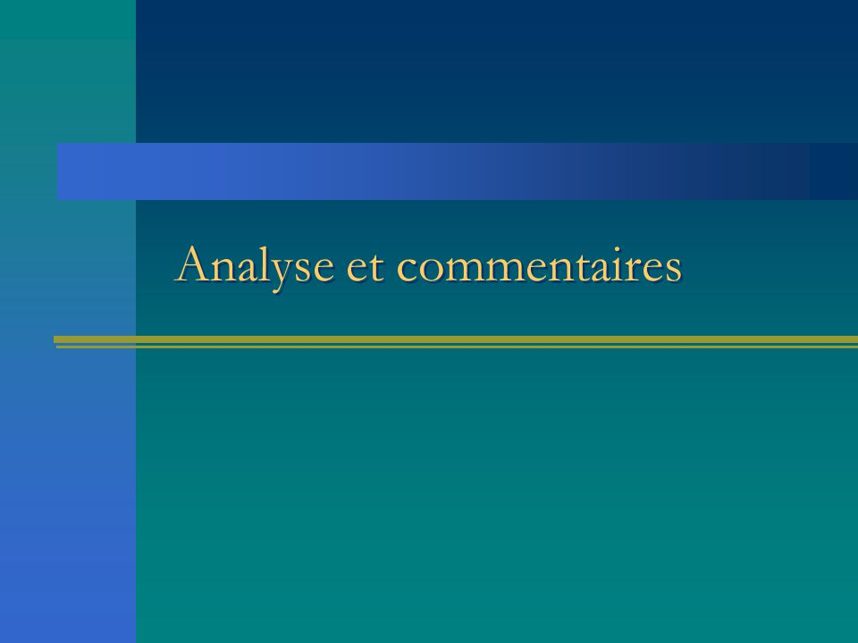 Analyse et commentaires
