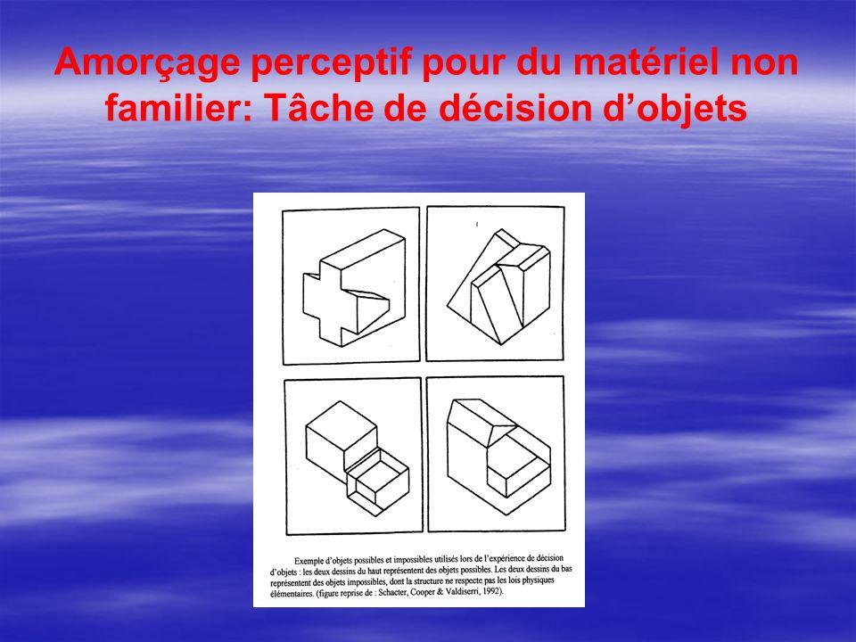 Amorçage perceptif pour du matériel non familier: Tâche de décision d'objets