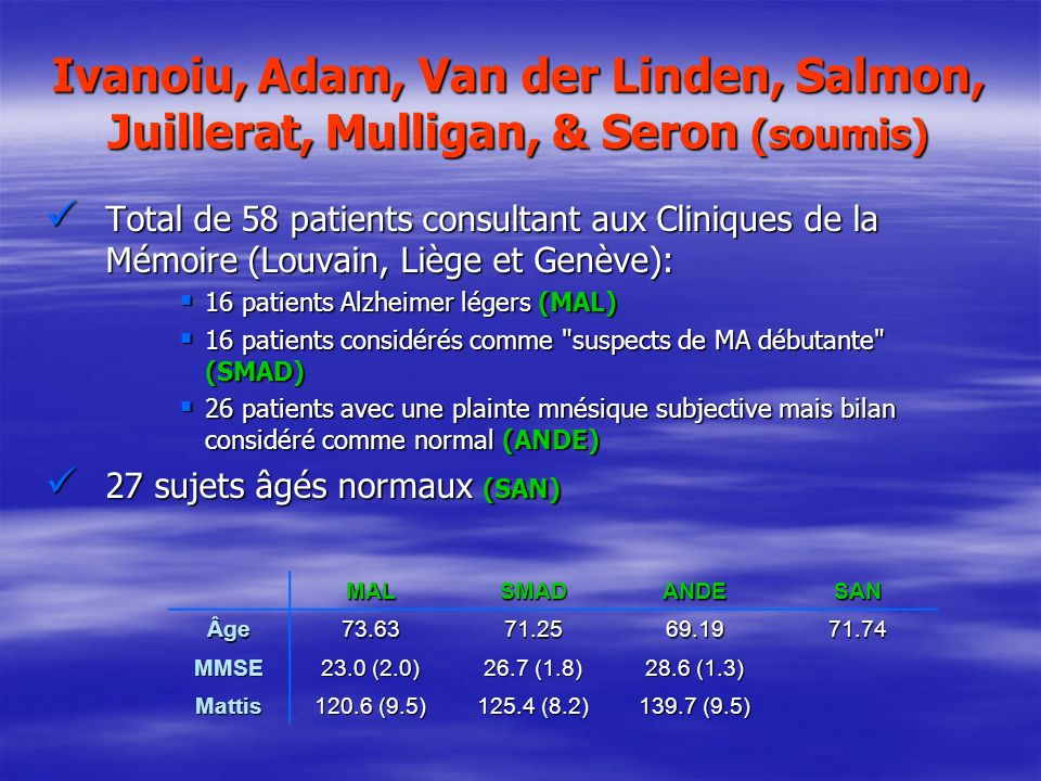 Ivanoiu, Adam, Van der Linden, Salmon, Juillerat, Mulligan, & Seron (soumis)