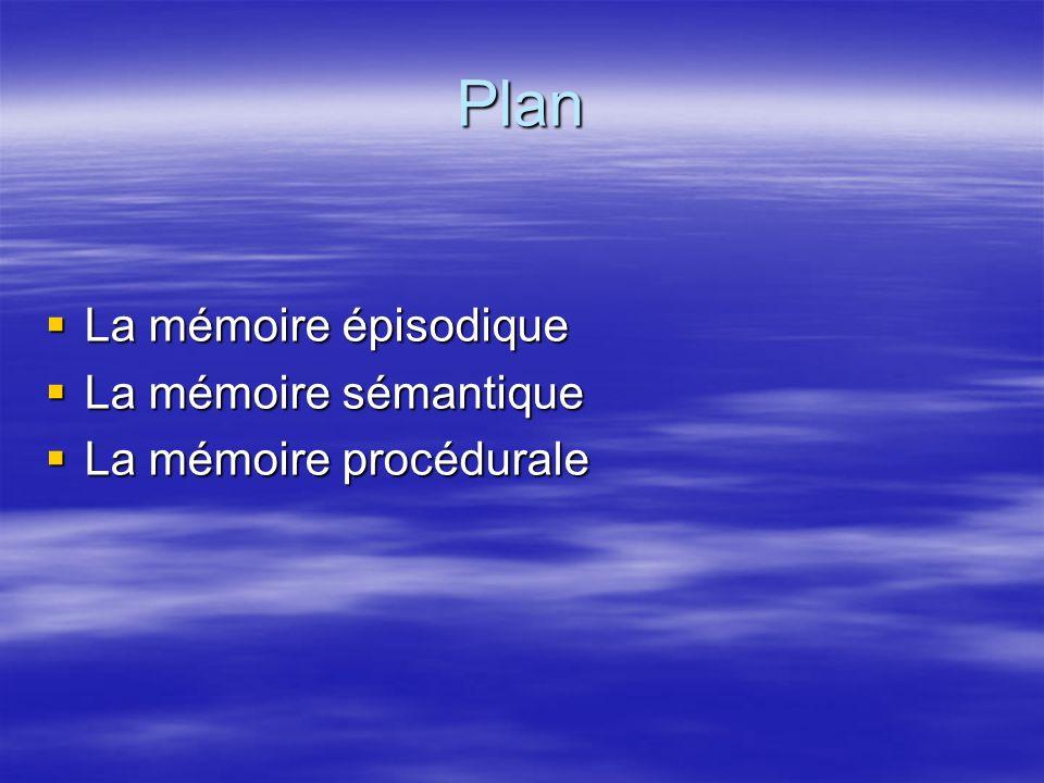 Plan La mémoire épisodique La mémoire sémantique