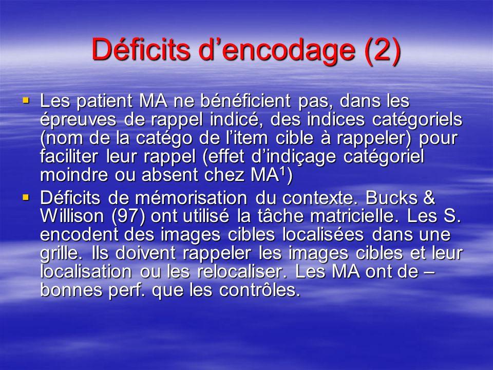 Déficits d'encodage (2)