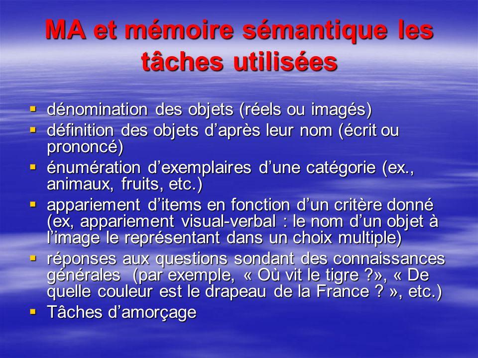 MA et mémoire sémantique les tâches utilisées