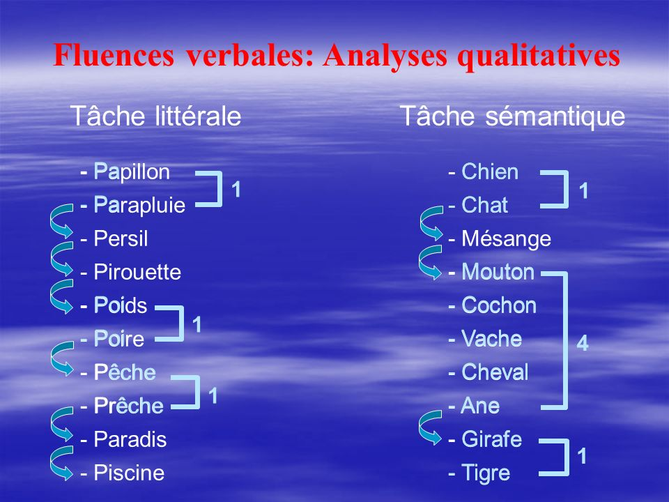 Fluences verbales: Analyses qualitatives