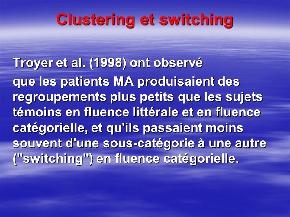 Clustering et switching