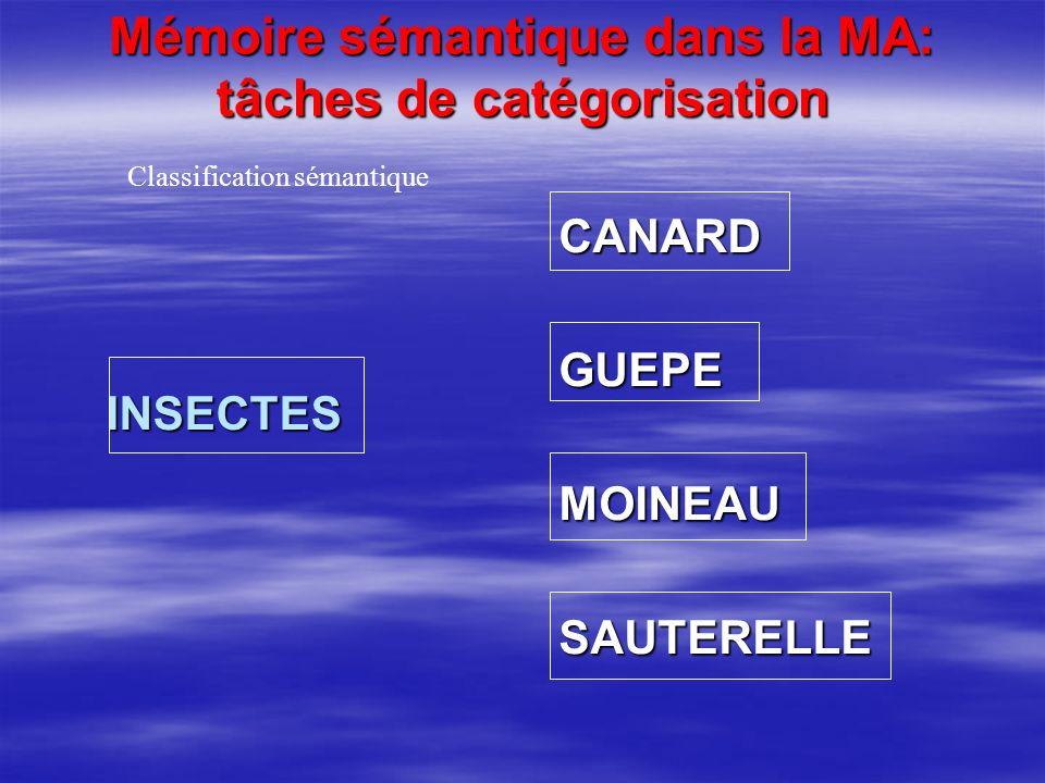 Mémoire sémantique dans la MA: tâches de catégorisation