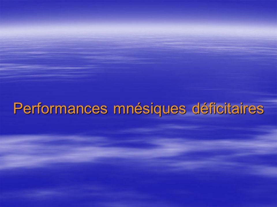 Performances mnésiques déficitaires