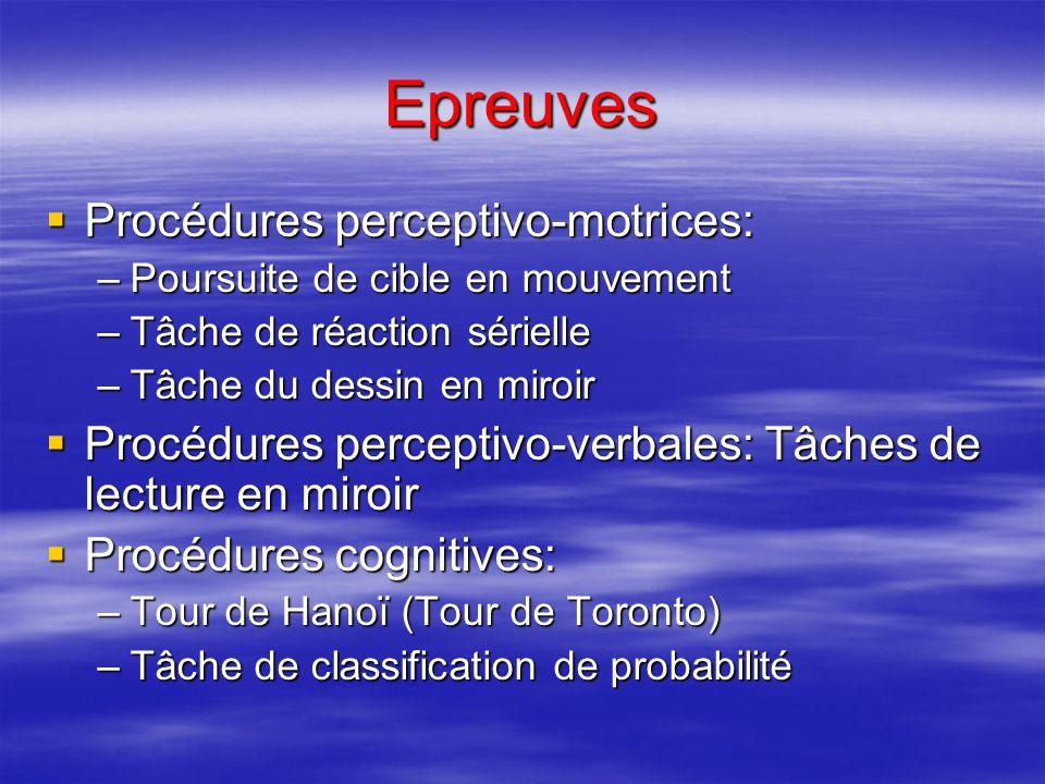 Epreuves Procédures perceptivo-motrices: