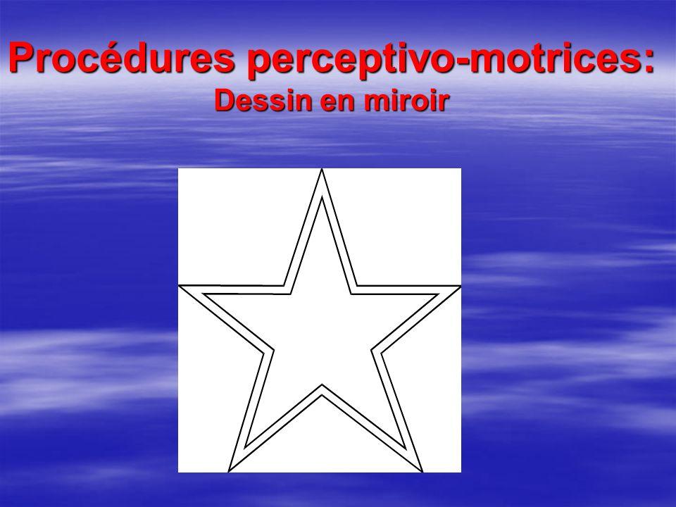 Procédures perceptivo-motrices: Dessin en miroir