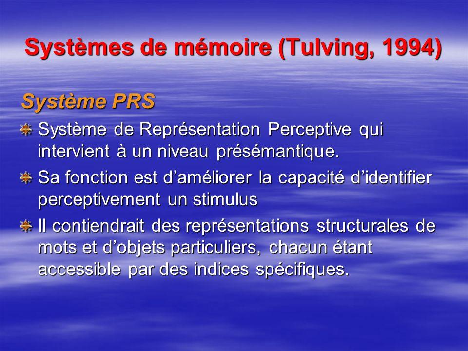 Systèmes de mémoire (Tulving, 1994)