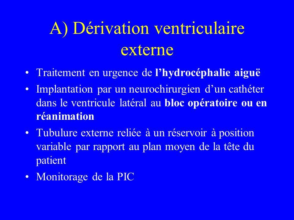 A) Dérivation ventriculaire externe