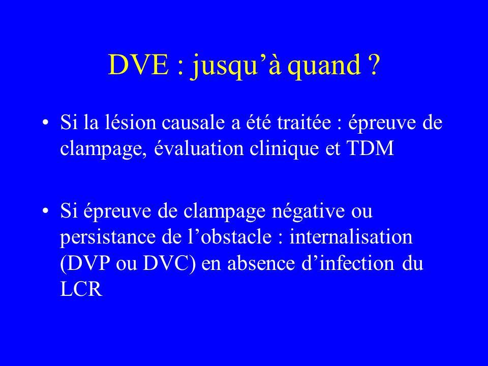 DVE : jusqu'à quand Si la lésion causale a été traitée : épreuve de clampage, évaluation clinique et TDM.
