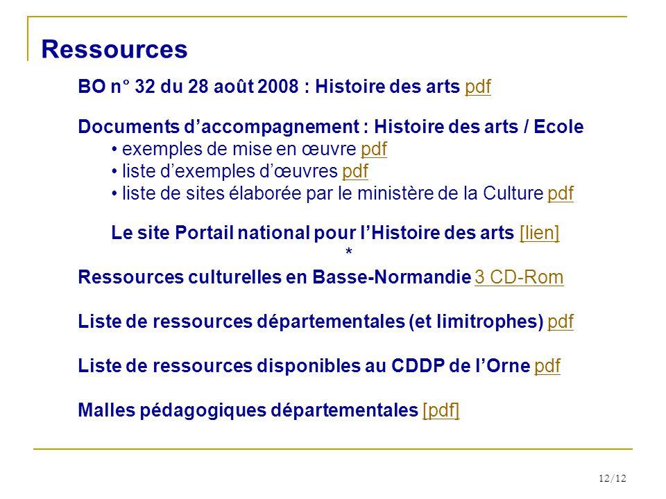 Ressources BO n° 32 du 28 août 2008 : Histoire des arts pdf