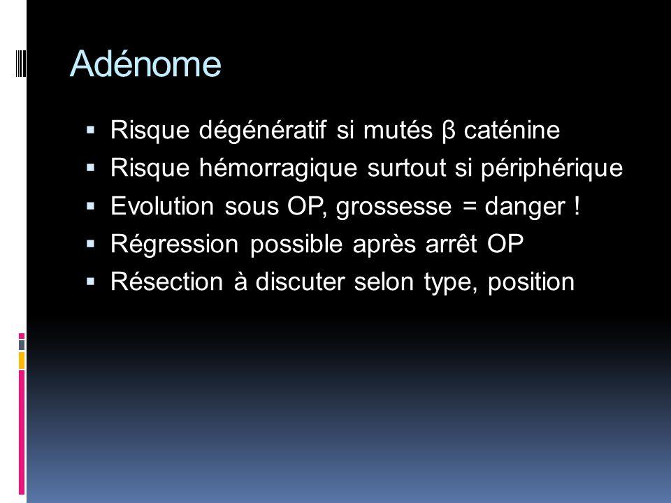Adénome Risque dégénératif si mutés β caténine