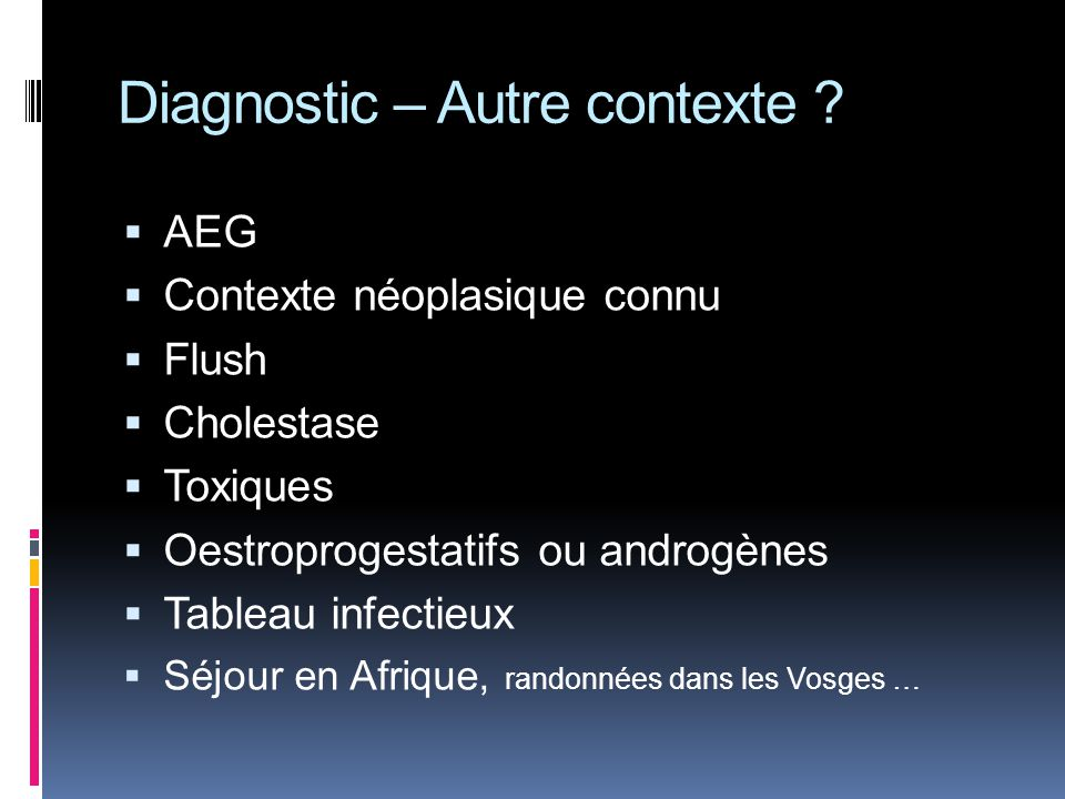 Diagnostic – Autre contexte