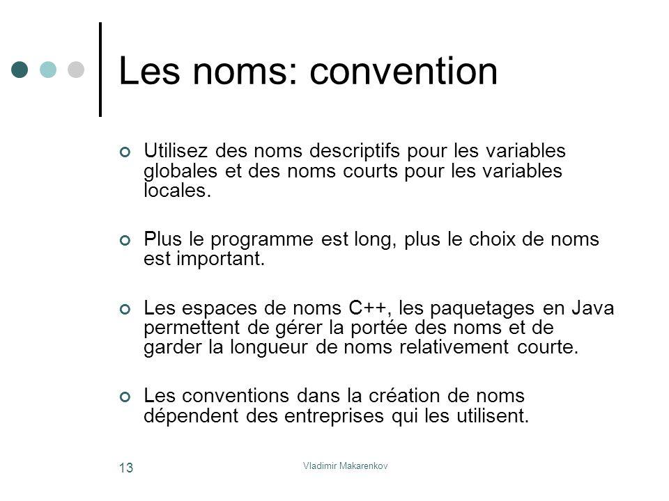 Les noms: convention Utilisez des noms descriptifs pour les variables globales et des noms courts pour les variables locales.