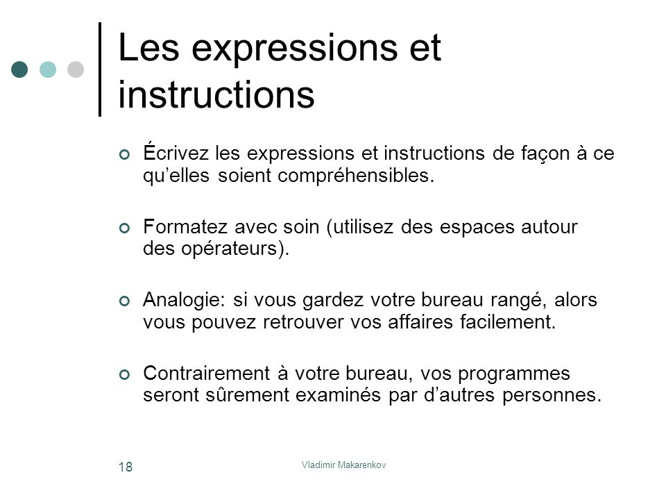 Les expressions et instructions