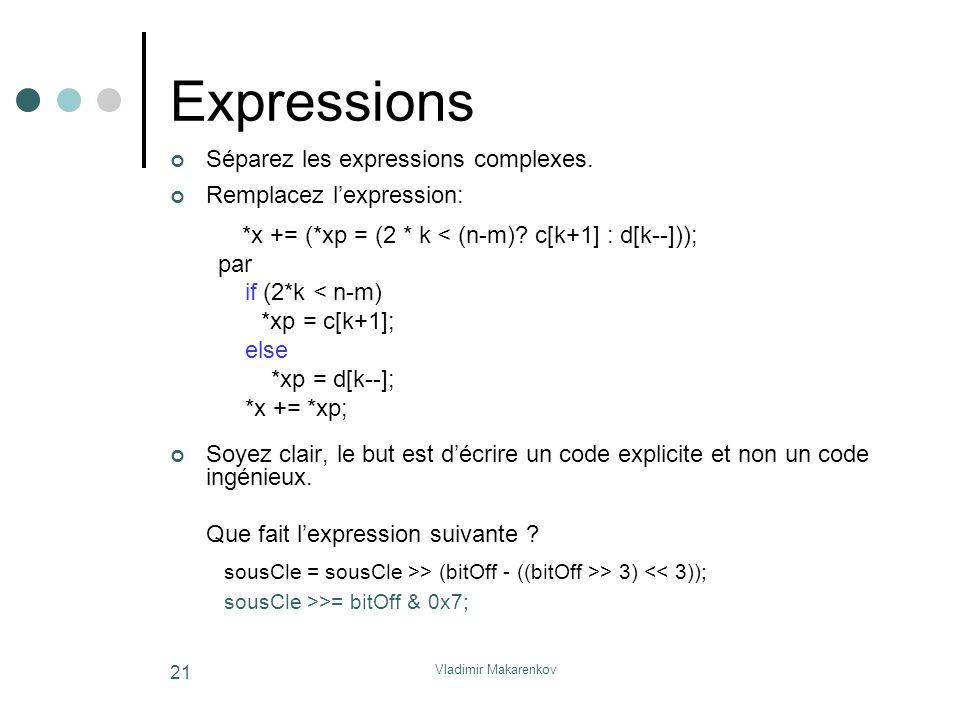 Expressions Séparez les expressions complexes. Remplacez l'expression: