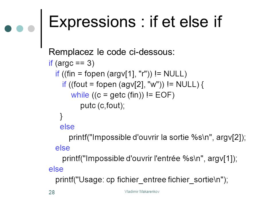 Expressions : if et else if