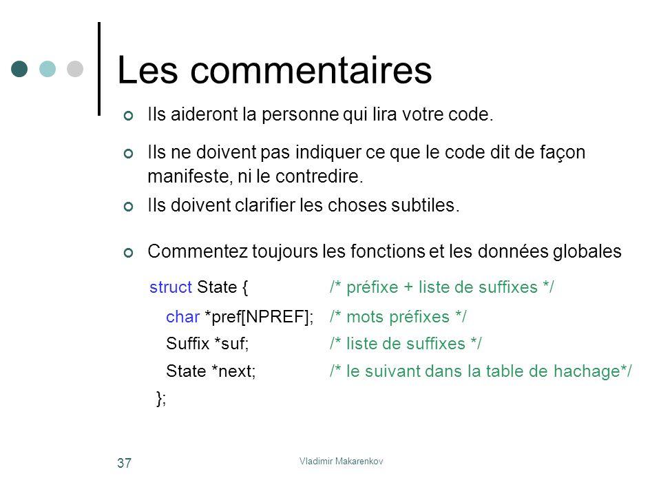 Les commentaires struct State { /* préfixe + liste de suffixes */