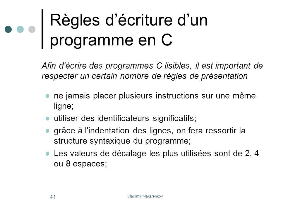 Règles d'écriture d'un programme en C