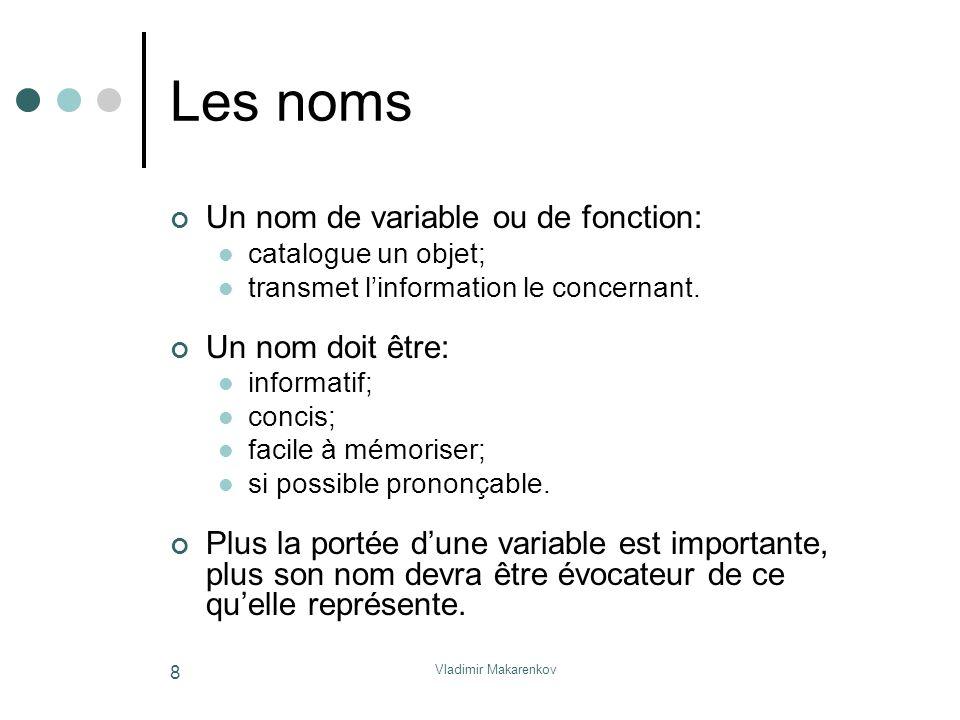 Les noms Un nom de variable ou de fonction: Un nom doit être: