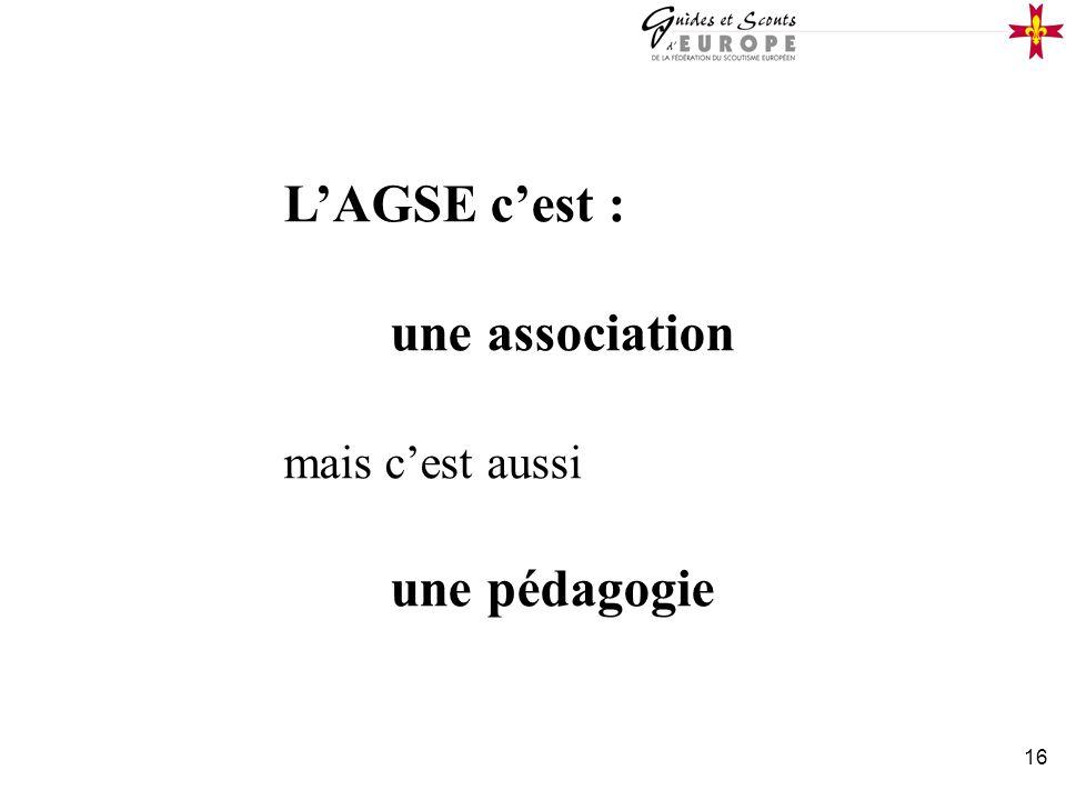 L'AGSE c'est : une association mais c'est aussi une pédagogie
