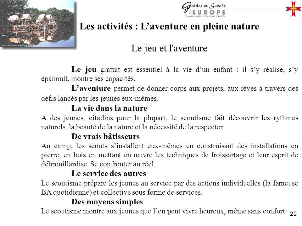 Les activités : L'aventure en pleine nature