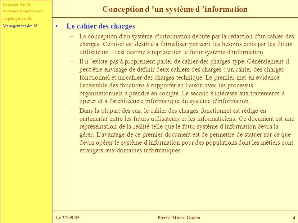 Conception d 'un système d 'information