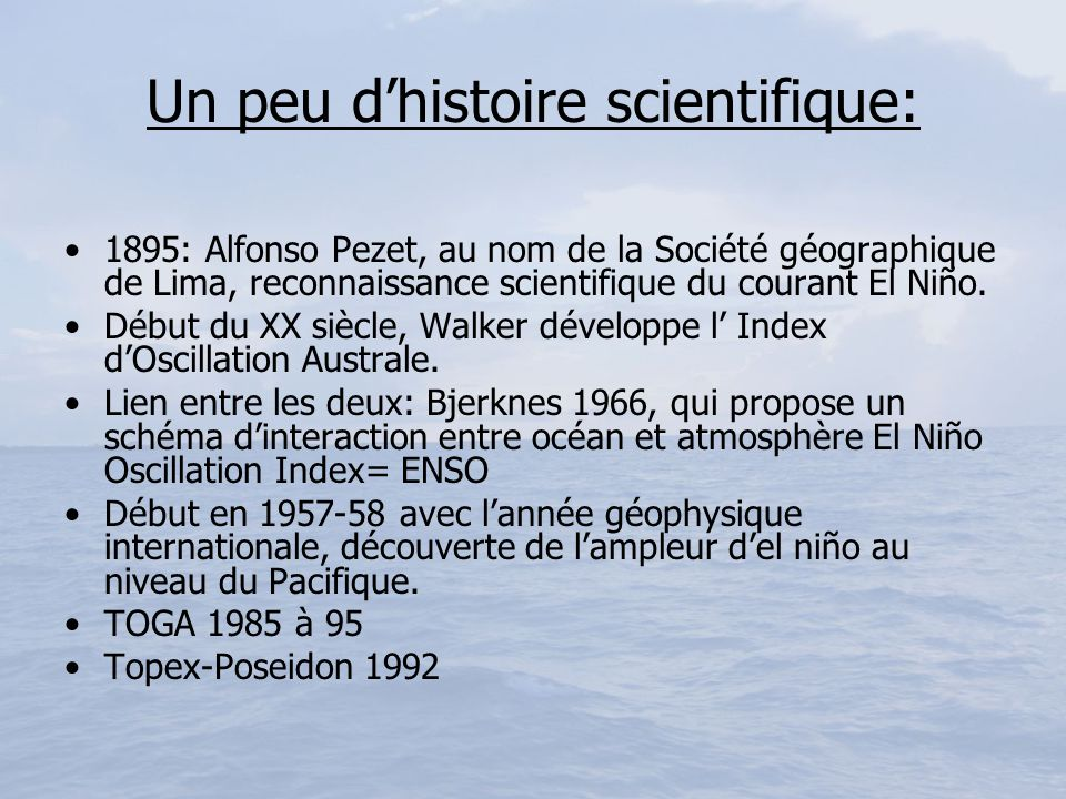 Un peu d'histoire scientifique:
