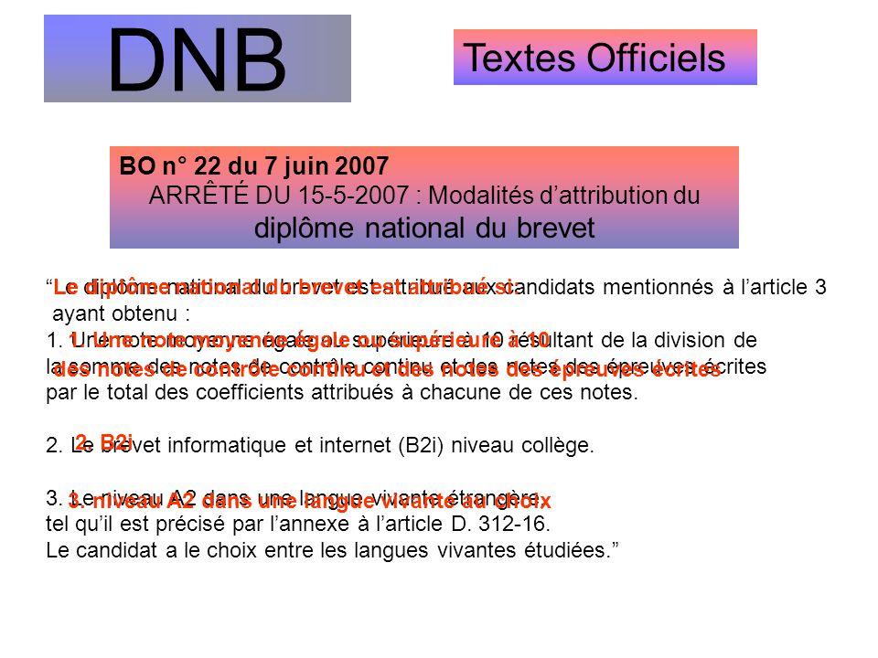 DNB Textes Officiels BO n° 22 du 7 juin 2007