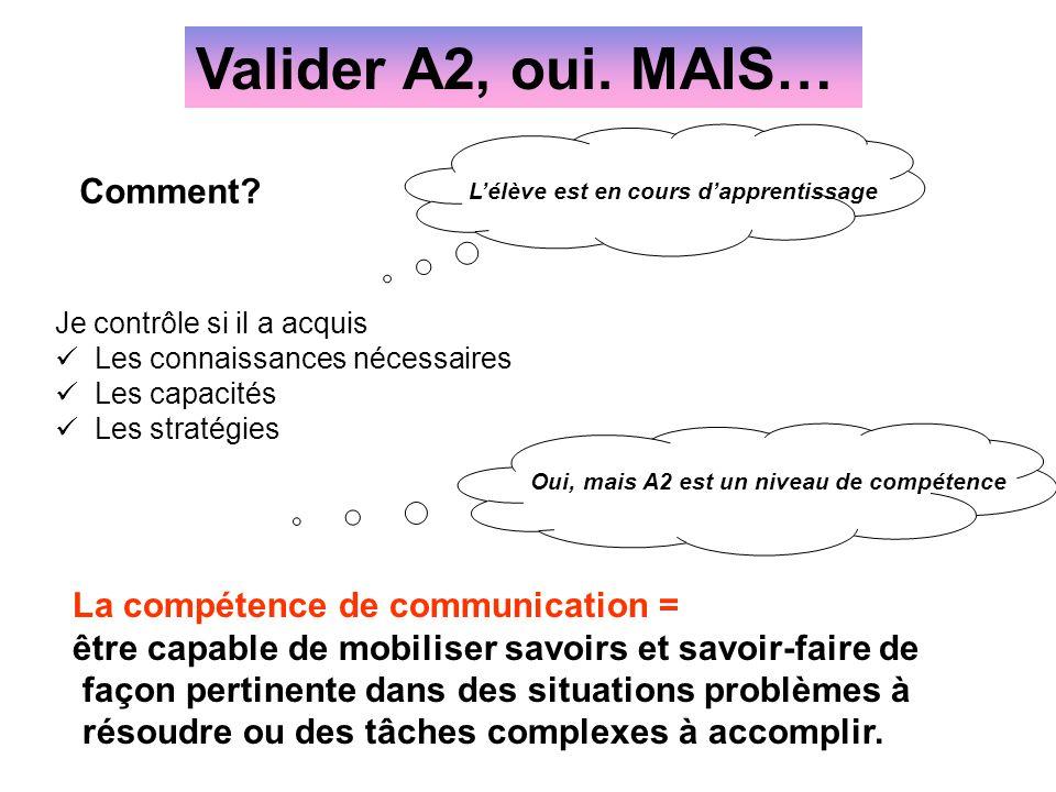 Valider A2, oui. MAIS… Comment La compétence de communication =