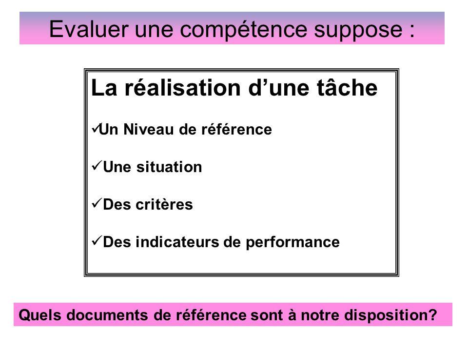 Evaluer une compétence suppose :