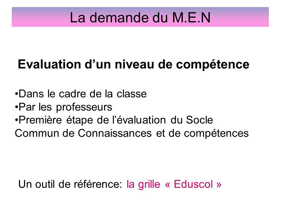 La demande du M.E.N Evaluation d'un niveau de compétence