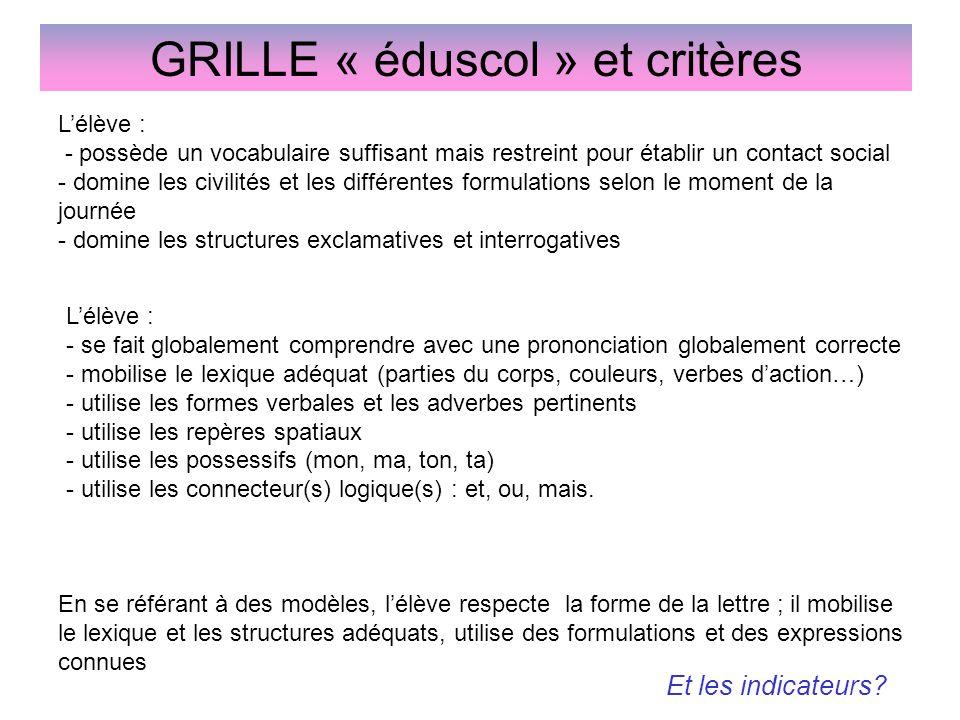 GRILLE « éduscol » et critères