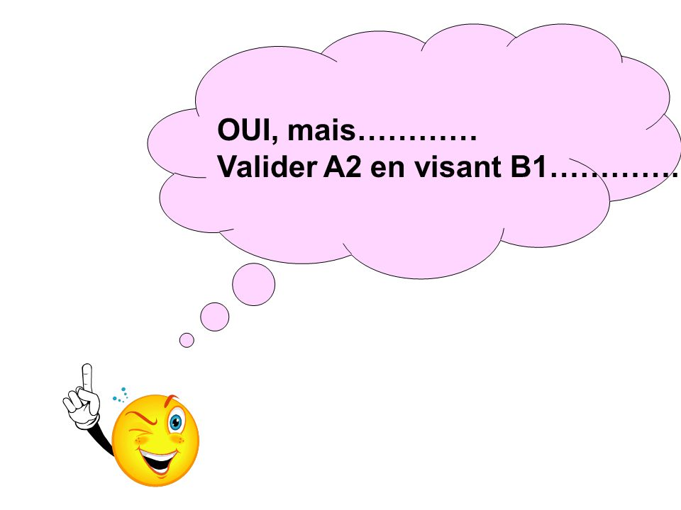 OUI, mais………… Valider A2 en visant B1…………..