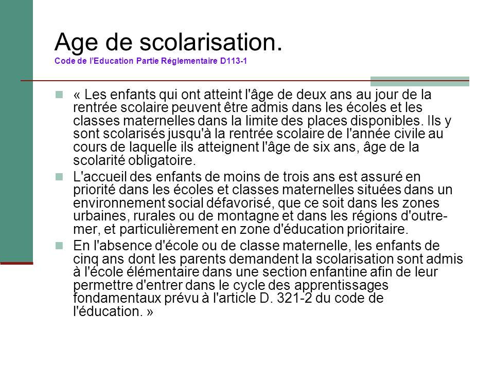 Age de scolarisation. Code de l'Education Partie Réglementaire D113-1