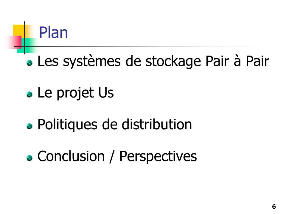 Plan Les systèmes de stockage Pair à Pair Le projet Us