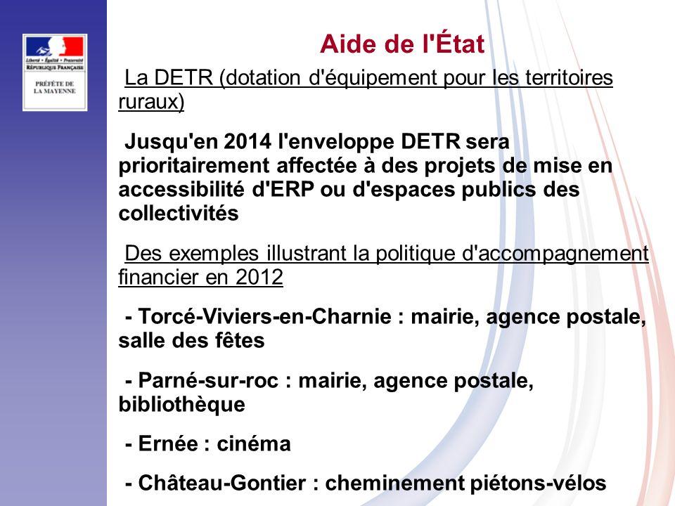 Aide de l État La DETR (dotation d équipement pour les territoires ruraux)