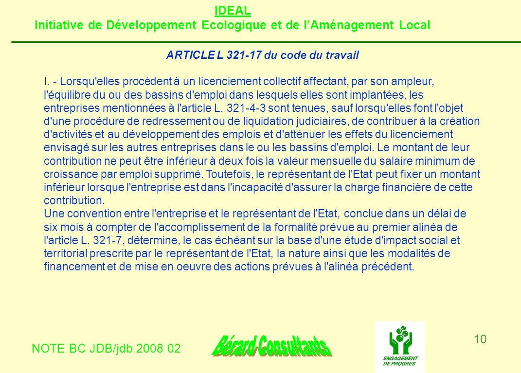 ARTICLE L 321-17 du code du travail