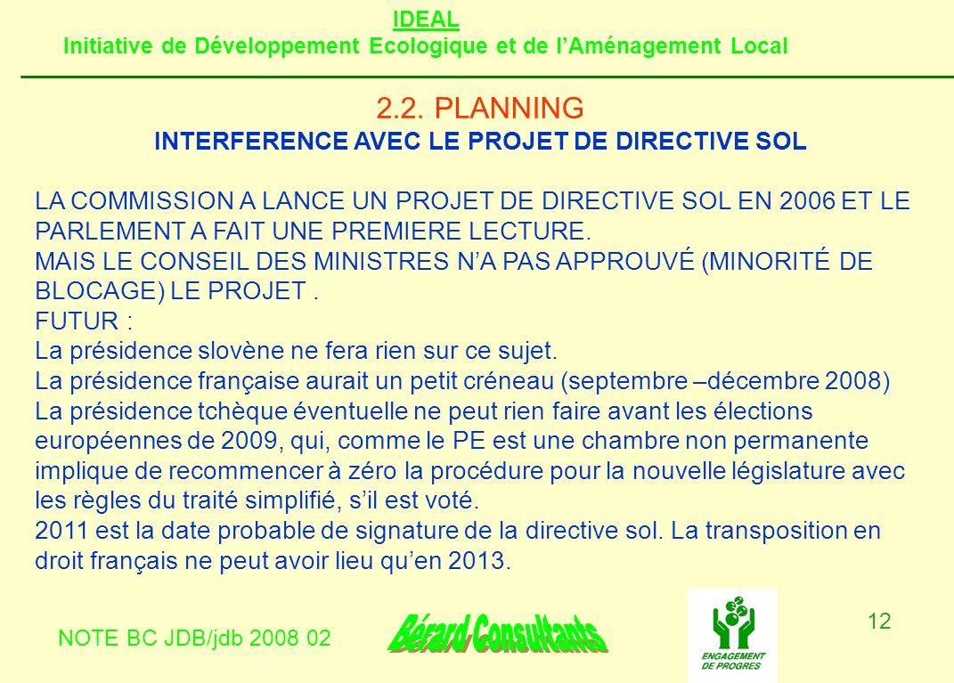 INTERFERENCE AVEC LE PROJET DE DIRECTIVE SOL