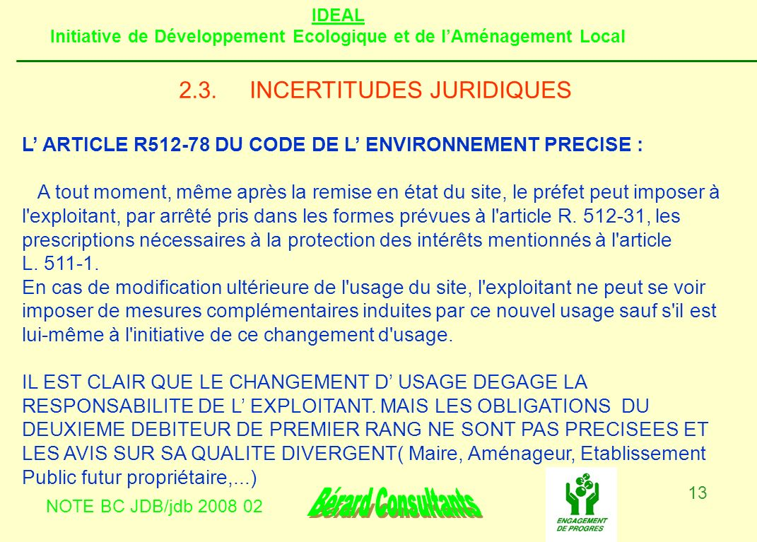 2.3. INCERTITUDES JURIDIQUES