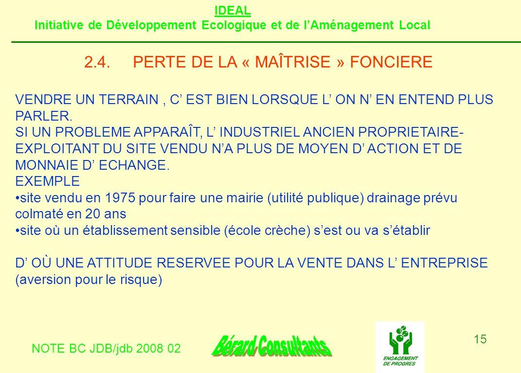 2.4. PERTE DE LA « MAÎTRISE » FONCIERE