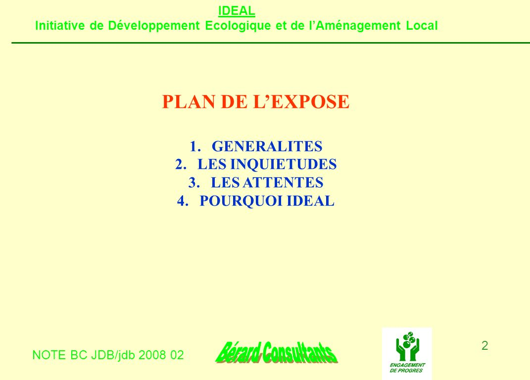 PLAN DE L'EXPOSE GENERALITES LES INQUIETUDES LES ATTENTES