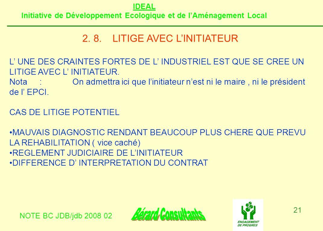 2. 8. LITIGE AVEC L'INITIATEUR