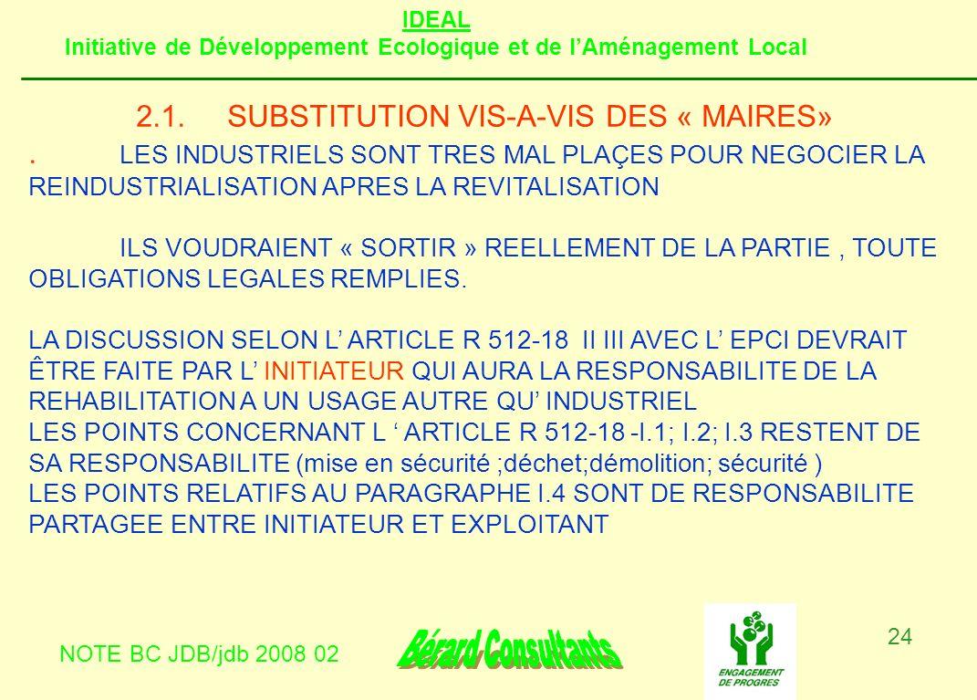 2.1. SUBSTITUTION VIS-A-VIS DES « MAIRES»