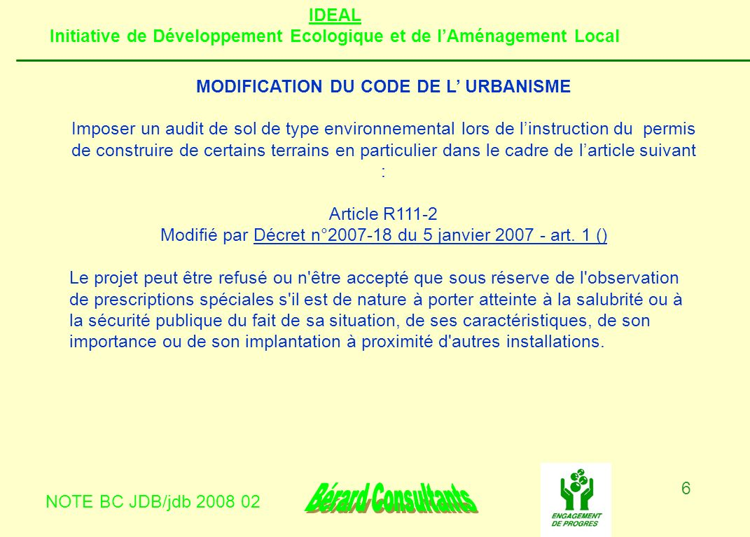 MODIFICATION DU CODE DE L' URBANISME