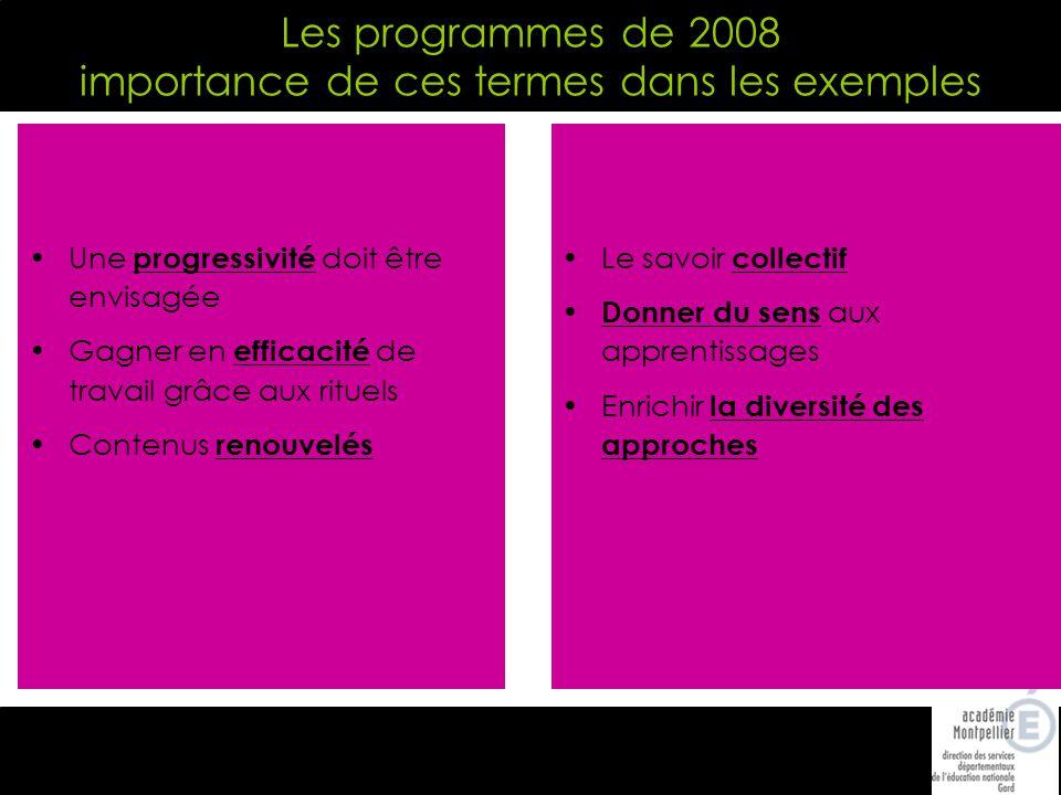 Les programmes de 2008 importance de ces termes dans les exemples